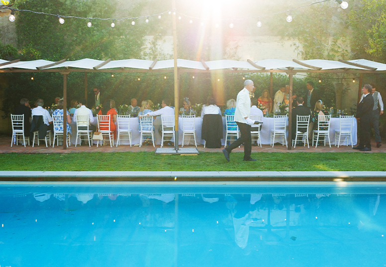 Private Dining Event by a swimming pool in South East England
