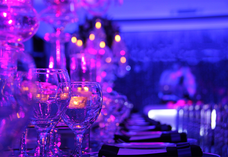 Table with ambient lighting at a Jelly Event in Surrey